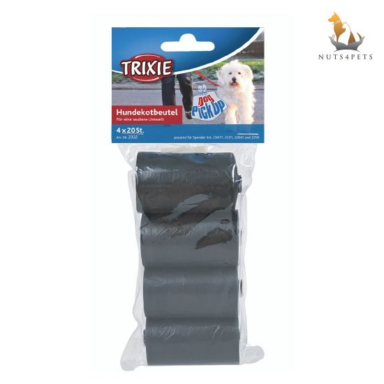 Trixie Dog Dirt Pick-Up Bags Refill Black, 4 rolls of 20pcs
