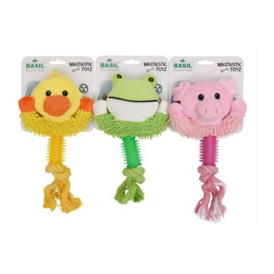 BASIL Soft & Squeaky Plush Toy with Rope