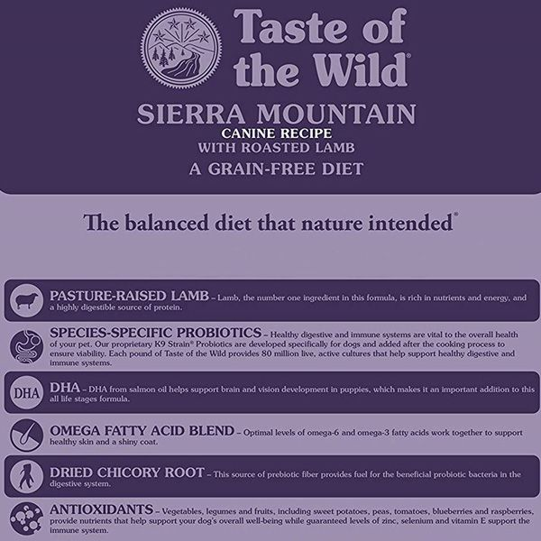 Taste of the Wild Dry Dog Food (Grain-Free) - Sierra Mountain - with Roasted Lamb